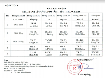 Lịch khám bệnh theo yêu cầu tại cơ sở Tân Triều tháng 5/2018