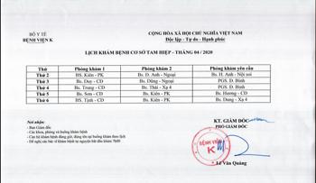 Lịch khám bệnh cơ sở Tam Hiệp - tháng 4/2020