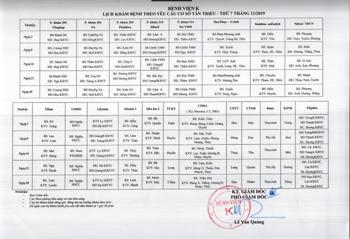 Lịch khám theo yêu cầu ngày thứ 7 tại cơ sở Tân Triều
