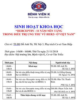 """SINH HOẠT KHOA HỌC """"HERCEPTIN - 11 NĂM NỀN TẢNG  TRONG ĐIỀU TRỊ UNG THƯ VÚ HER2+ Ở VIỆT NAM"""""""