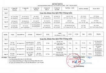 Lịch khám bệnh theo yêu cầu thứ 7 cơ sở Tân Triều tháng 05/2019