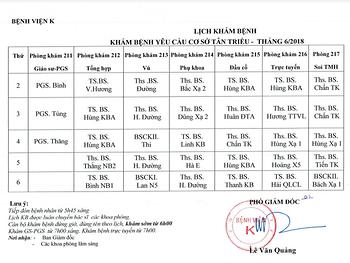 Lịch khám bệnh theo yêu cầu cơ sở Tân Triều tháng 6/2018
