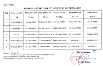 Lịch khám bệnh tự nguyện cơ sở Quán Sứ tháng 3/2019