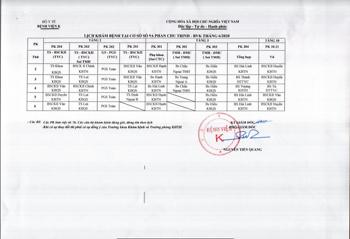 Lịch khám bệnh cơ sở 9A-9B Phan Chu Trinh - Tháng 6/2020