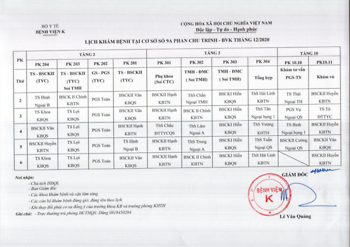 Lịch khám bệnh cơ sở 9A-9B Phan Chu Trinh - Tháng 12/2020