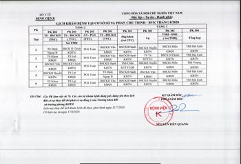 Lịch khám bệnh cơ sở 9A-9B Phan Chu Trinh - Tháng 8/2020