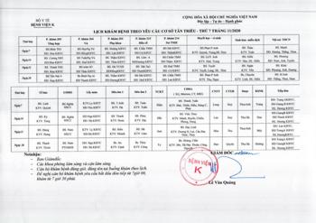 Lịch khám bệnh theo yêu cầu cơ sở Tân Triều Thứ 7 - Tháng 11/2020