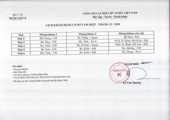 Lịch khám bệnh cơ sở Tam Hiệp - Tháng 12/2020
